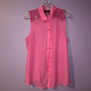 NWOT Ali & Kris Pink Lace Blouse
